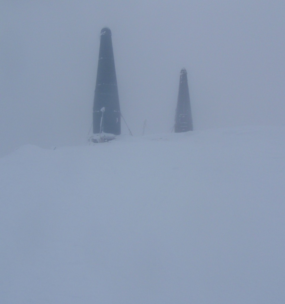 Mt. MacPherson Summit in a complete whiteout