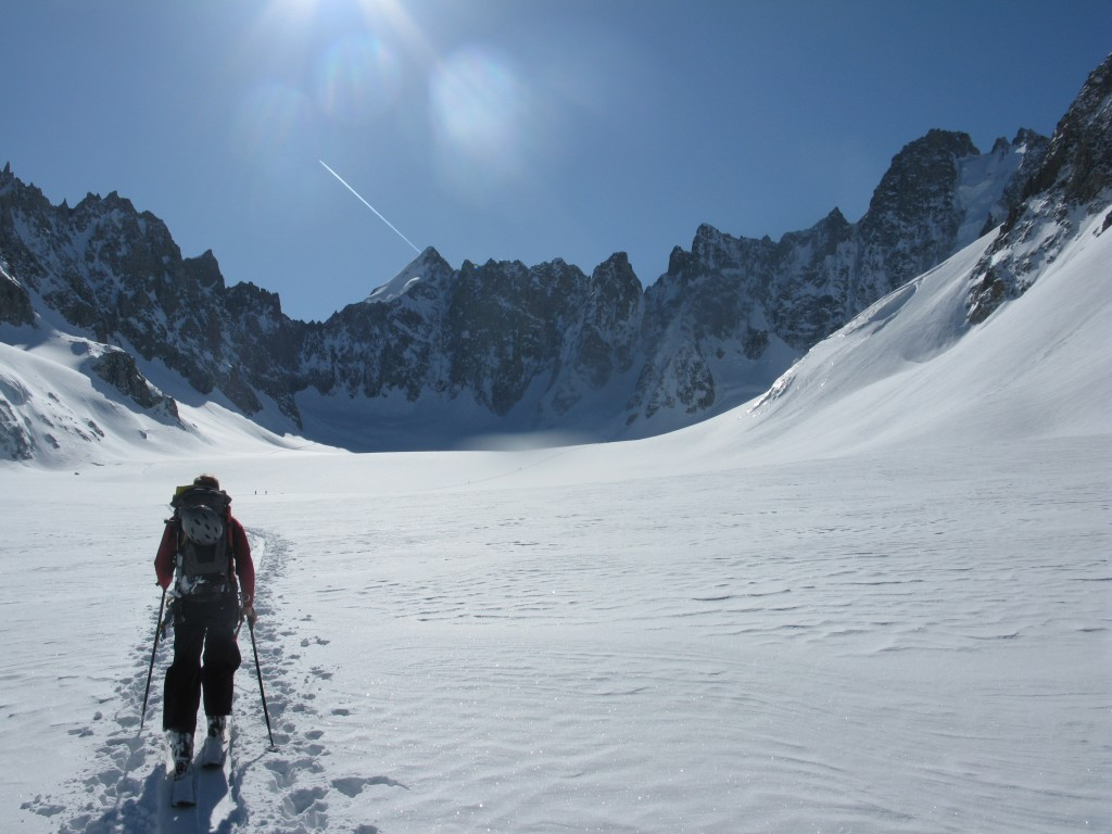 Heading towards the back of the Argentiere Basin: Mont Dolent centre, Aiguille de Triolet far right