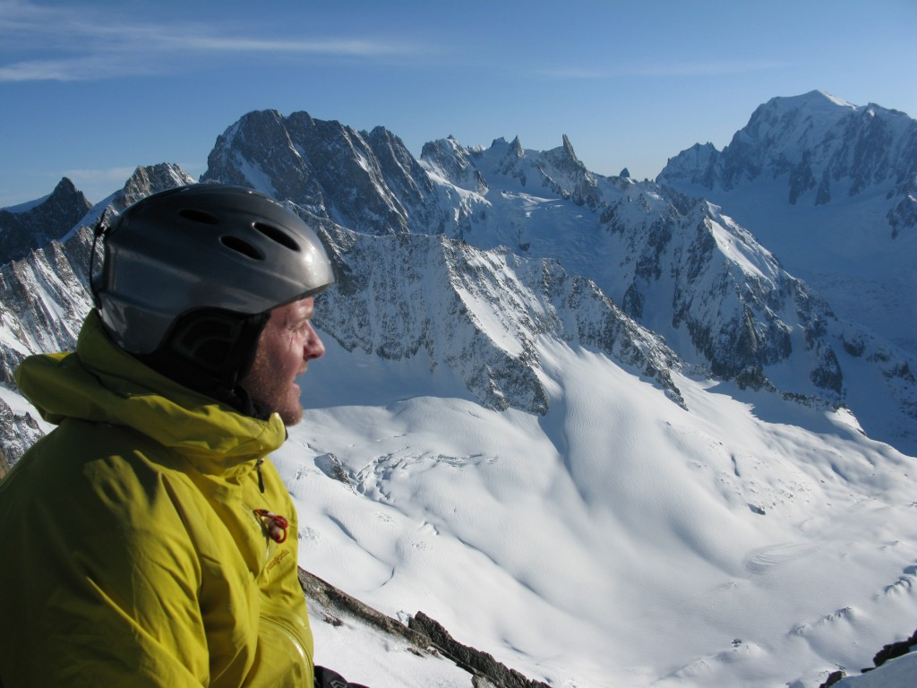 Nick on the summit (les Grandes Jorasse off centre and Mont Blanc du Tacul far right)
