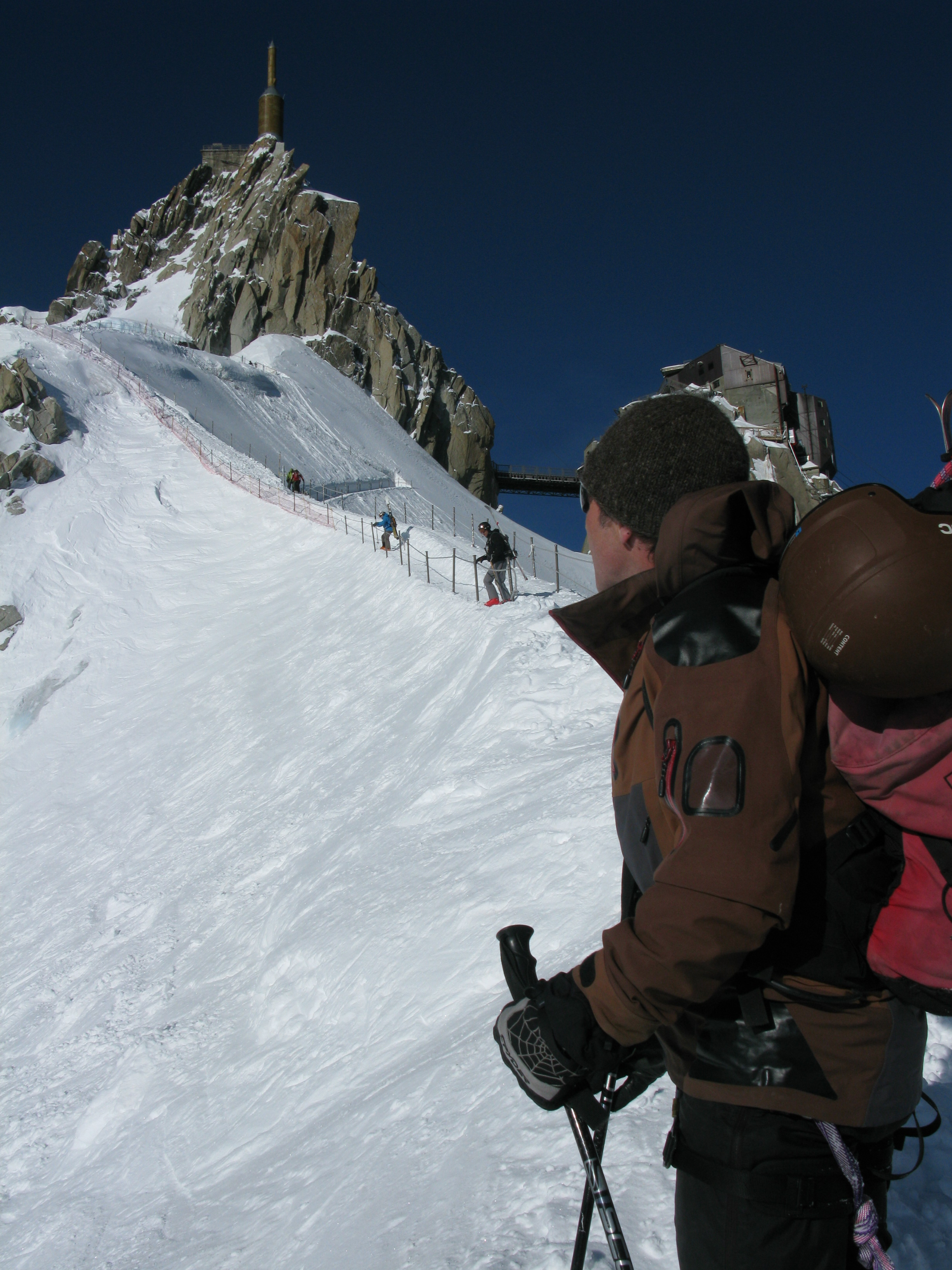 Greeny down the arete from the Aiguille du Midi. Look at the weather!