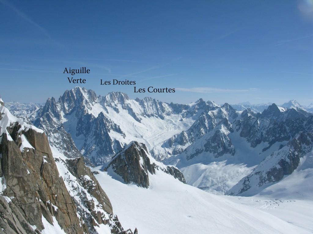 South side of L'Aiguille Verte, Les Droites and Les Courtes