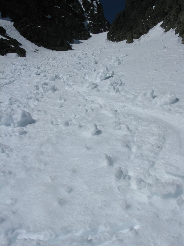 Looking up the couloir after the crux