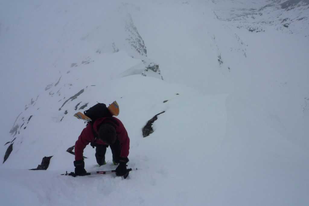 Me scrambling up the ridge to get to the couloir entrance courtesy of Lars Thomas Nordby