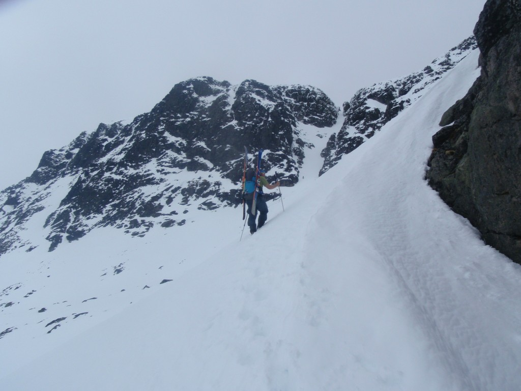 Lars at the start of the climb with couloir in the background
