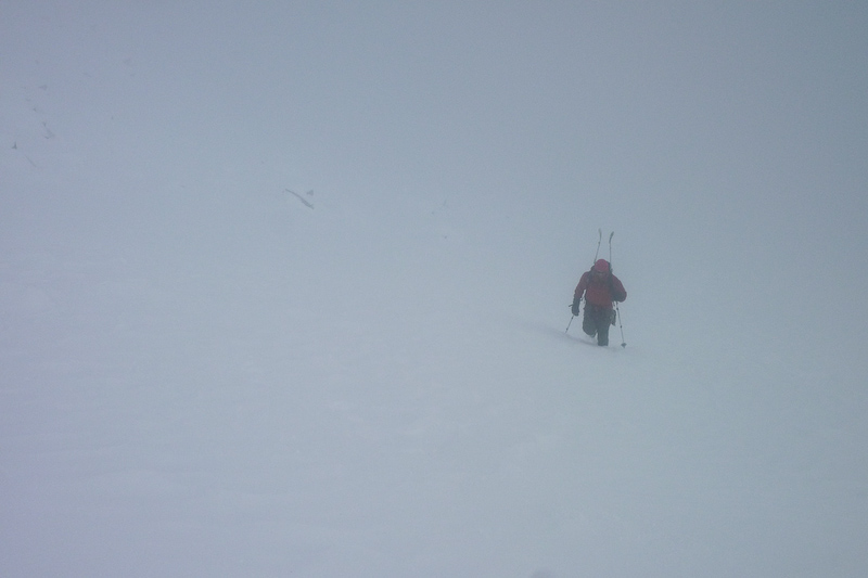 Approaching the summit in a whiteout.