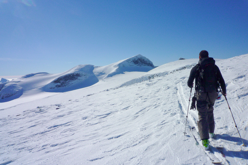 Me approaching Galdhøppigen (peak furthest right).