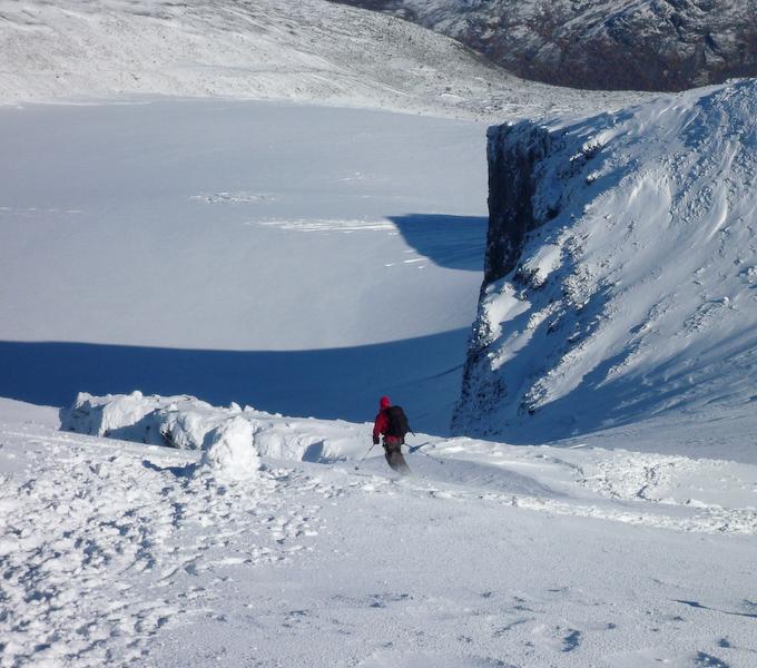 Me skiing down the ridge.
