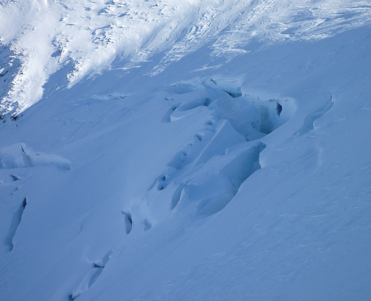 Exposed crevasse on the face of Galdhøppigen