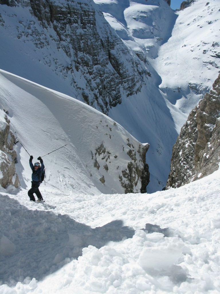 Sigurd in the upper section of the couloir