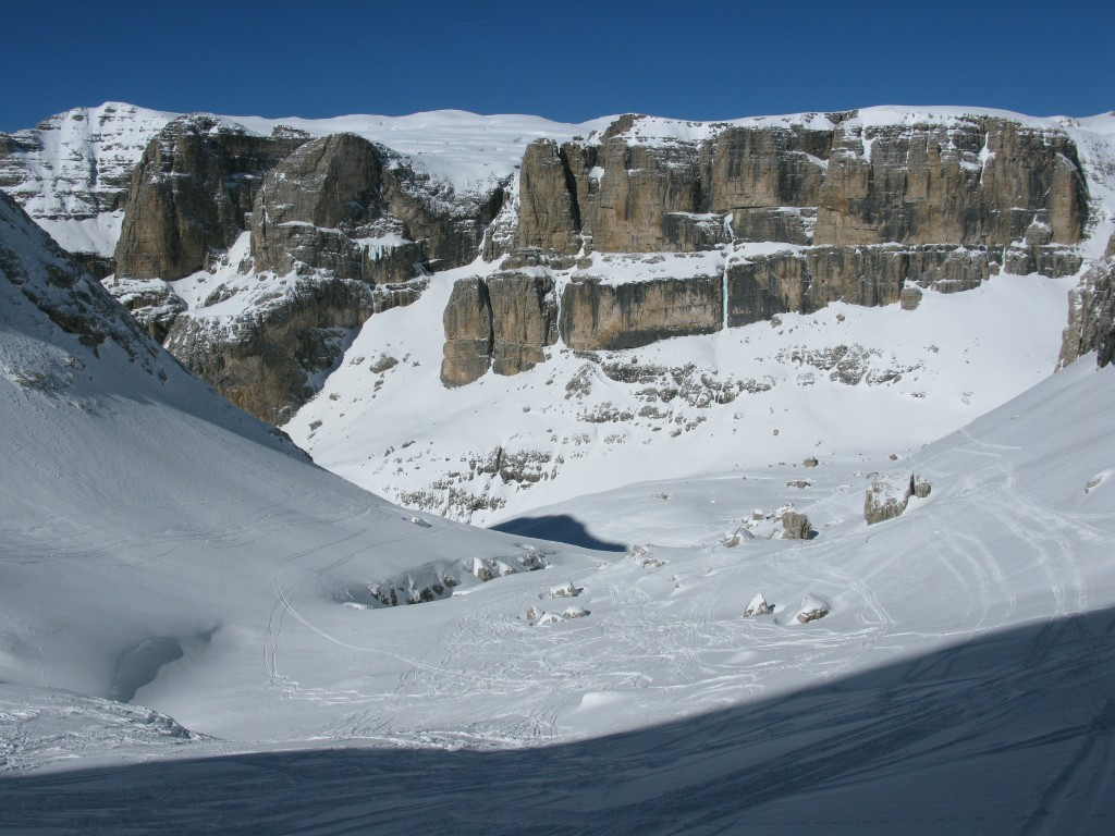 Out of the couloir and entering Val Lasties