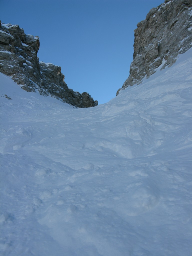 Looking back up the couloir to the entrance