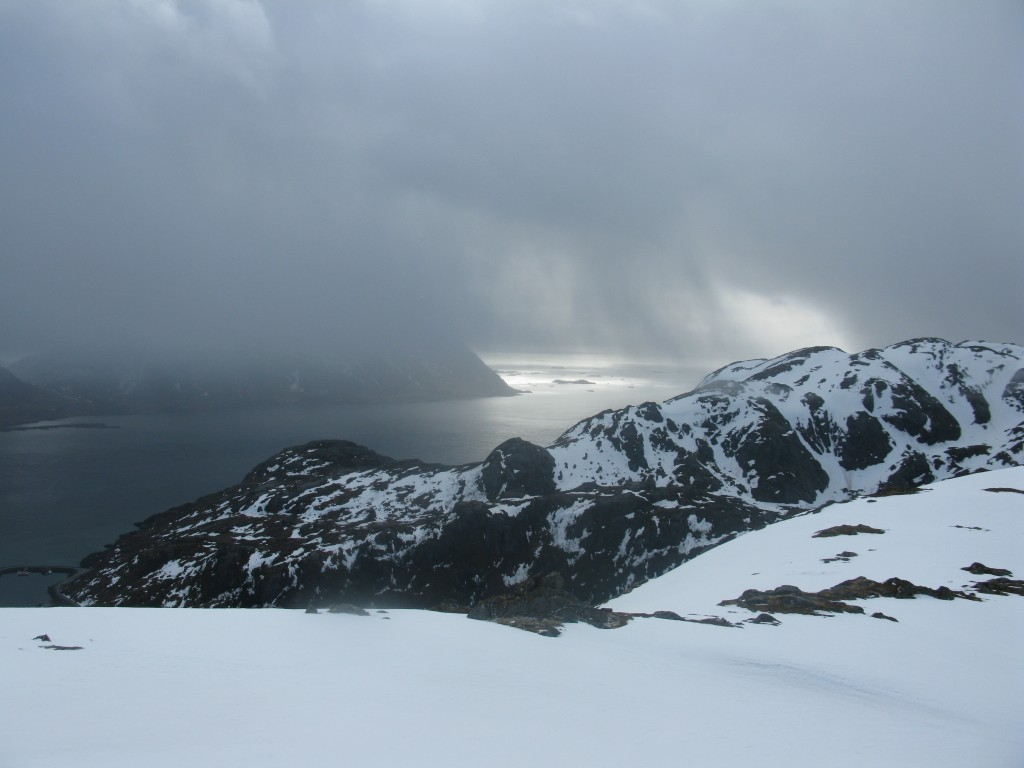Views towards Flakstad before bootpacking up the couloir