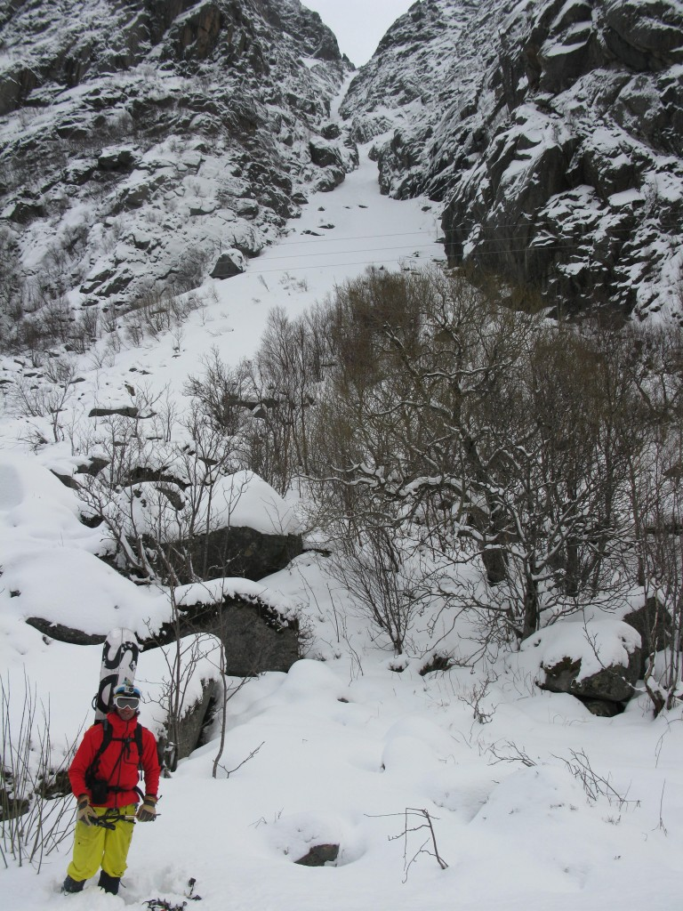 Luca with the Presten Couloir disappearing in the bac