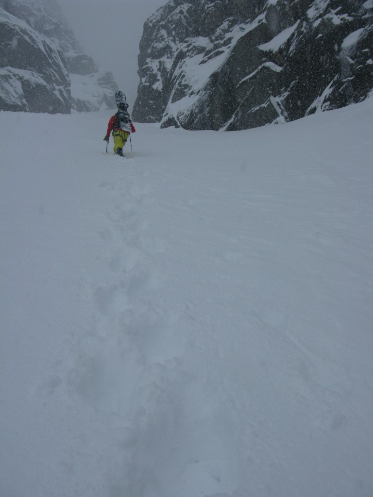 Luca on the first section of the Presten Couloir before the crux