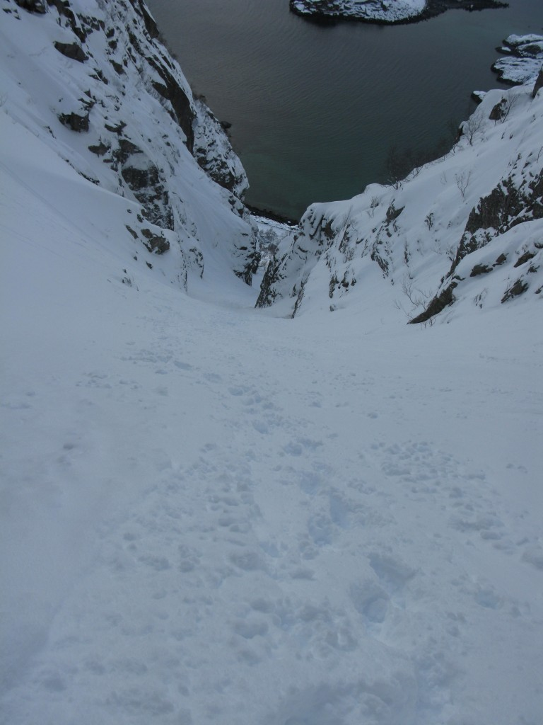 Looking back down the Presten Couloir just before the crux