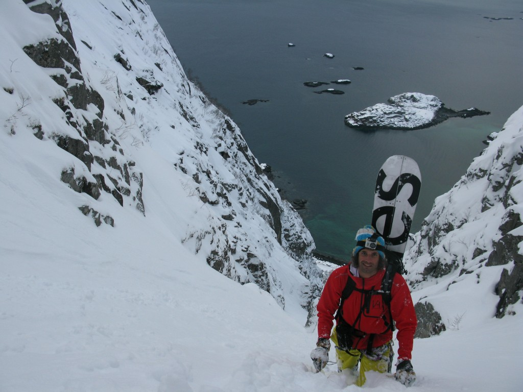 Luca climbing the Presten Couloir after the crux