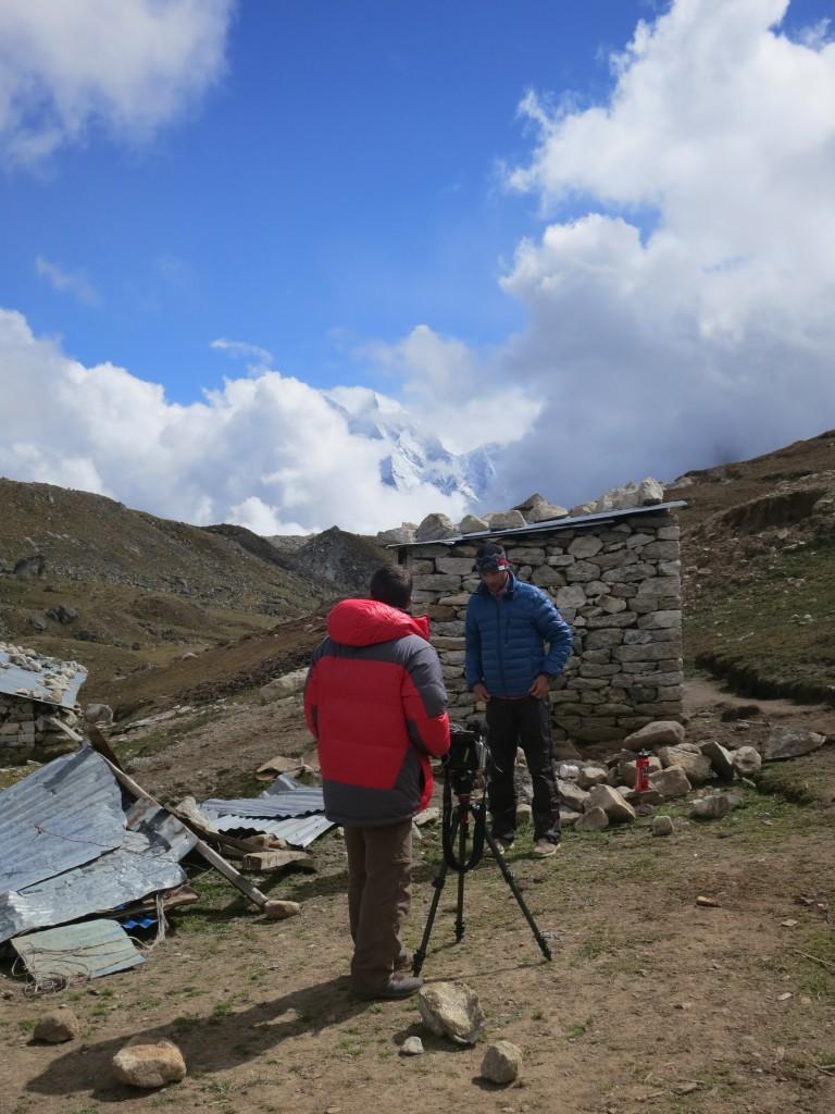 Menk getting ready to film in Lobuche (4,900m), Nepal