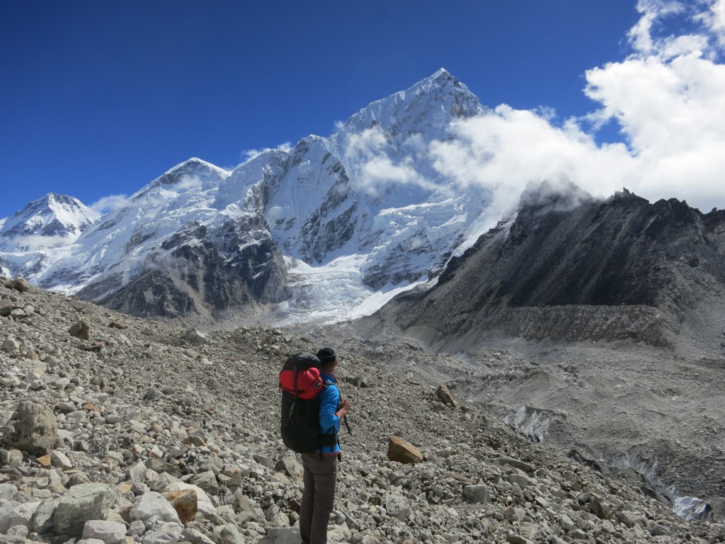 Seb on the way to Gorak Shep with Nuptse (7,861m) behind, Nepal