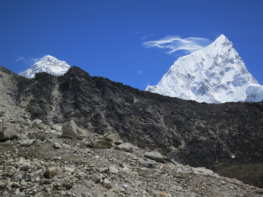 Everest (8,848m) and Nuptse (7,861m) with plumes of snow, Nepal