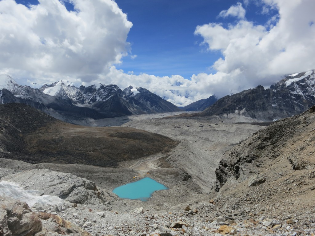 Looking down at Pumori Base Camp from the South West Face at 5,700m, Nepal