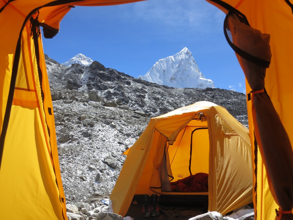 View from my tent with Everest and Nuptse in the background, Nepal