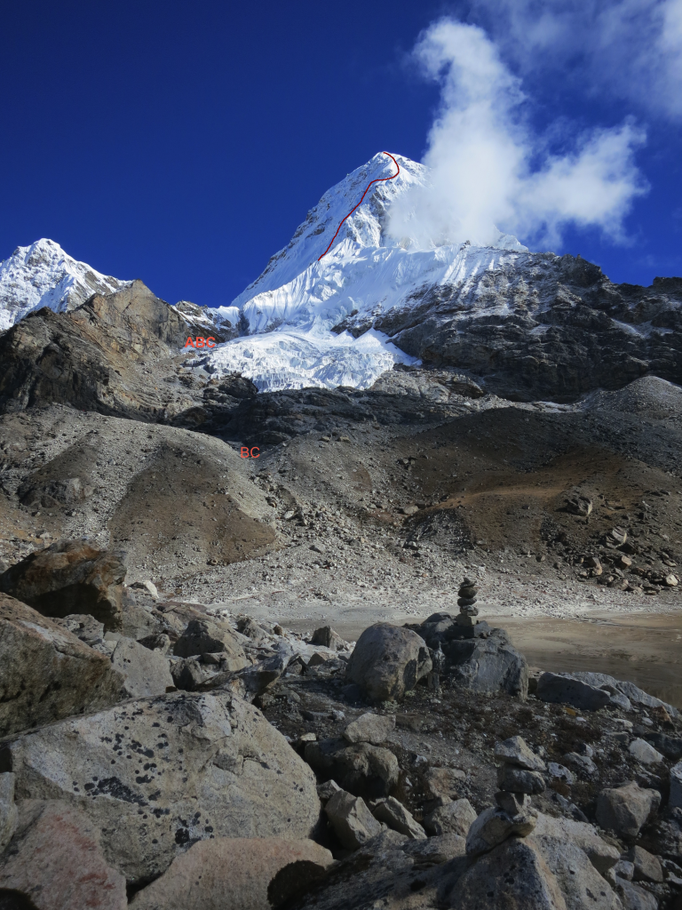 South West Face of Pumori (7161m) and Base Camp (5,400m), Nepal