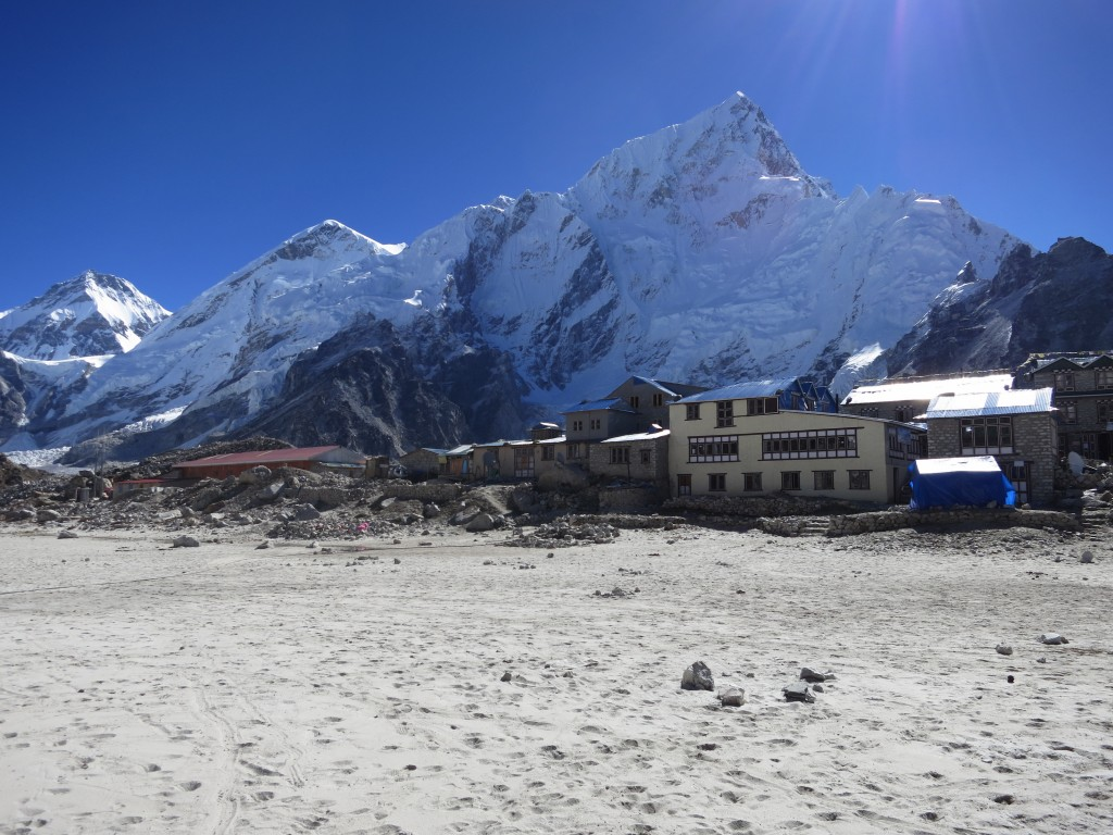 Gorak Shep at 5100m with Nuptse in the background, Nepal